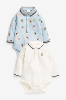 Blue 2 Pack Poloshirt Bodysuits (0mths-3yrs)