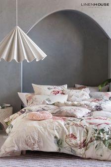 Sansa Large Floral Duvet Cover and Pillowcase Set by Linen House