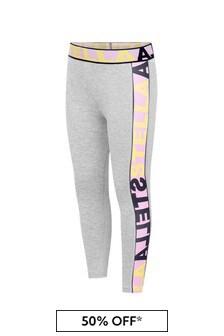 Girls Grey Logo Sporty Leggings