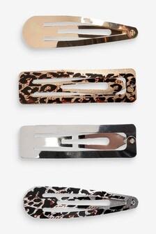 Animal Print Hair Clip 4 Pack