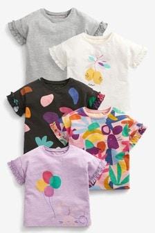 Bright 5 Pack Organic Cotton T-Shirts (3mths-7yrs)
