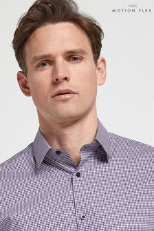Purple Check Slim Fit Single Cuff Motion Flex Shirt