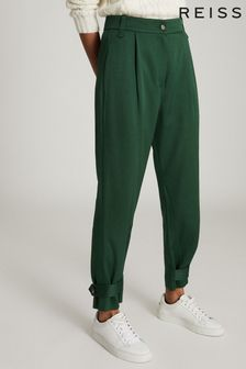 Reiss Green Duke Pleat Front Tapered Trousers