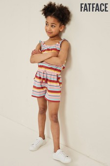 FatFace Red Carly Multi Stripe Playsuit