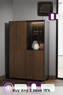 Frank Olsen Smart LED Black and Walnut Display Cabinet