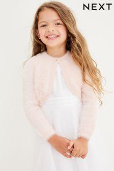 Pink Sparkle Fluffy Shrug Cardigan (12mths-16yrs)