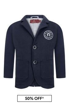 Boys Navy Cotton Logo Jacket