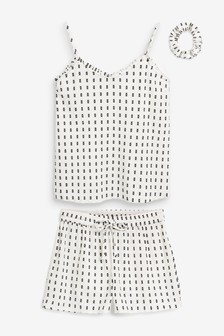 White with Black Spots Woven Short Set With Scrunchie