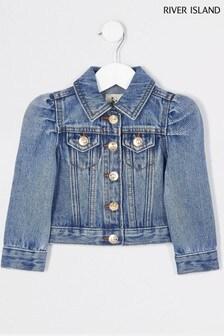 River Island Blue Puff Sleeve Denim Jacket
