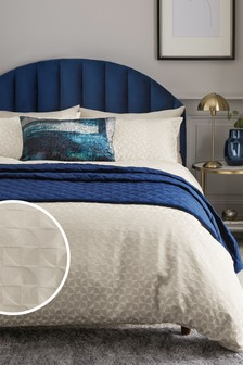 Semi Circle Woven Jacquard Duvet Cover And Pillowcase Set
