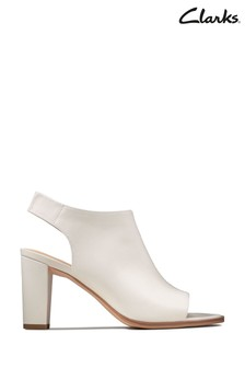 Clarks White Kaylin85 Sling Sandals