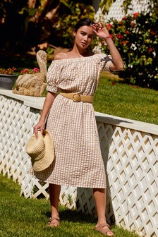 Neutral Check Off The Shoulder Dress