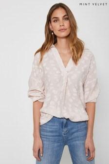 Mint Velvet Pink Clipped Throw On Shirt