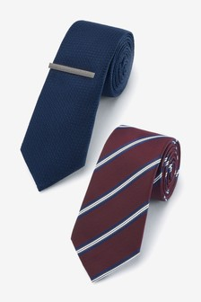 Navy/Burgundy Ties Two Pack With Tie Clip