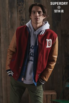 Superdry Dry Dry Leather Varsity Jacket