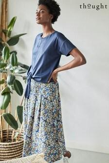 Thought Blue Elsie Pleat Skirt