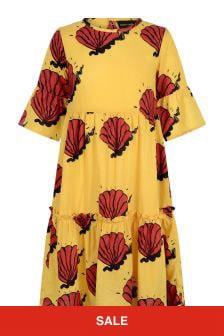 فستان منسوج أصفر صدفبناتي