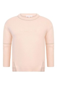 Girls Pink Cotton & Wool Knitted Sweater