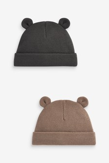 Brown/Grey Winter Hats 2 Pack (Younger)