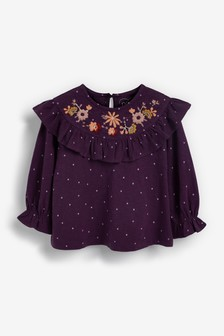 Purple Embroidered Collar Top (3mths-7yrs)