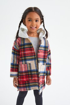 Red Check Shacket With Hood (3mths-7yrs)