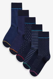 Navy Pattern Socks Five Pack