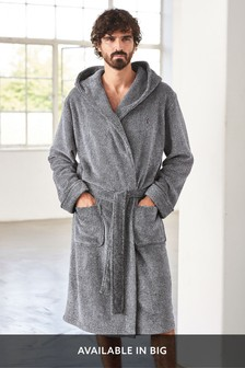 Grey Super Soft Hooded Dressing Gown