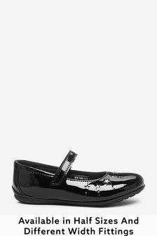 Black Patent Leather Wide Fit (G) Star Mary Janes Shoes