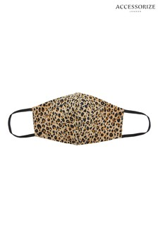 Accessorize Leopard Face Covering In Pure Cotton