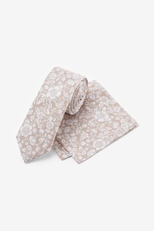 Champagne Floral Silk Tie And Pocket Square Set