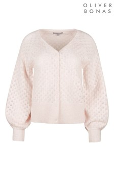 Oliver Bonas All Over Stitch Detail Pink Knitted Cardigan