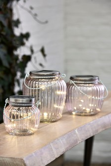 Set of 3 Pink Solar Glass Lanterns