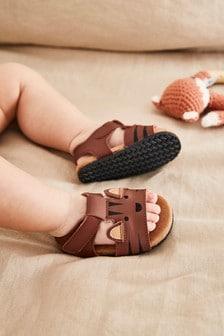 Tan Croc Corkbed Pram Shoes (0-24mths)