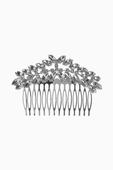 Silver Tone Crystal Hair Comb