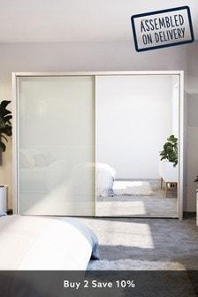 Magnolia-mirror Peyton Rustic Oak Effect Extra Large Sliding Wardrobe