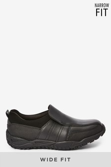 Black Standard Fit Leather Loafers (Older)