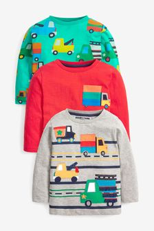 Red/Green Trucks 3 Pack Long Sleeve Character T-Shirts (3mths-7yrs)