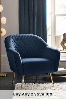 Opulent Velvet Dark Navy Hamilton  Armchair With Gold Legs