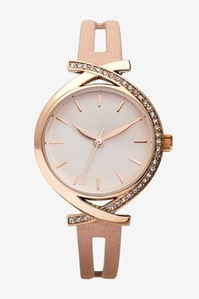 Rose Gold Tone Split Strap Watch