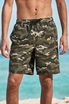 Khaki Camo Print Utility Swim Shorts