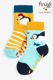 Frugi National Trust Organic Cotton Puffins Grippy Socks