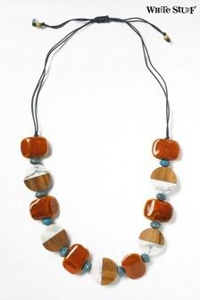 White Stuff Orange Ceramic Oblong Necklace