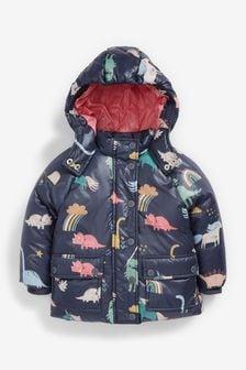 Navy Dino & Unicorn Print Coat (3mths-7yrs)