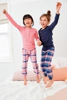 Pink/Navy 2 Pack Woven Bottom Pyjamas (3-16yrs)