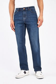 Mid Blue Loose Fit Jeans With Stretch