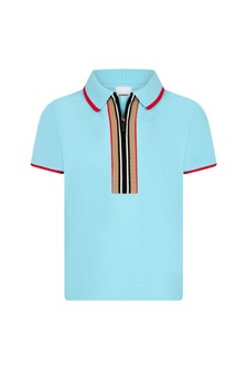 Burberry Kids Baby Boys Turquoise Cotton Polo Top