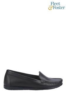Fleet & Foster Black Tiggy Slip On Loafers