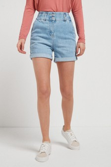 Mid Blue Elasticated Waist Denim Shorts