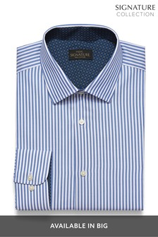 Blue/White Slim Fit Stripe with Trim Detail Signature Shirt