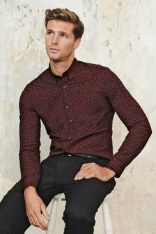 Red Leopard Print Slim Fit Long Sleeve Shirt
